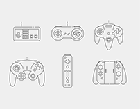 Thin Line Icons: Nintendo Controllers
