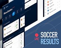 Live time soccer results. Mockup