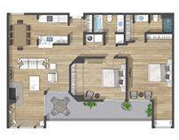 Floor plan 2D rendering in Burlingame (California)