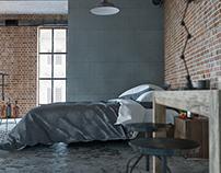 Loft bedroom 3D-Visualization&Design