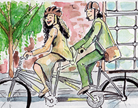 Watercolor illustrations for Carraro bicycles