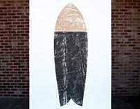 """Surfboard 4'x7' Woodblock Print """"Vessel"""""""