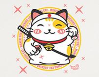Cat Sushi Samurai Maneki Neko