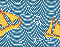 Sailboats and High Seas, Repeat Pattern