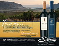 Scanlon's Restaurant | Northstar Wine Evening promo fly
