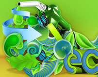 Eco advert - environmental 3D graphics style