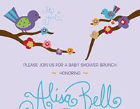 Bird Themed Baby Shower Invitation
