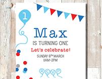 Max's First Birthday Invitation