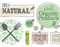 Organic Food Stickers and Badges Collection