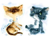 Postcards watercolor Cats