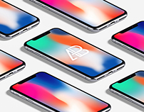 Isometric iPhone X Mockup Vol.3
