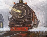 Train Station - Acrylic on Canvas - 89x93cm