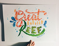 Great Barrier Reef - Lettering poster