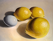 Lemons and Egg - Oil Painting