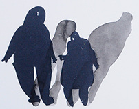 Watercolor Monotype Silhouettes