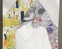Self portrait using Klimt art technique.