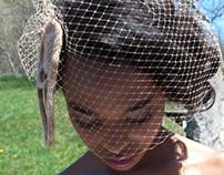 Custom Merino Fascinator w/Netting for Photo Shoot