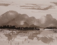 Abstract landscapes 50x20 cm pigments, sumi-e 2016