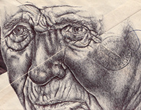 Bic biro drawing on 1960 envelope.