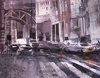 some city streets in watercolor