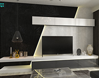 Minimalist apartment with a touch of gold