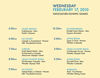 2010 Winter Olympics - Schedule of Events Poster