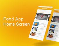 The Food App Home Screen Design