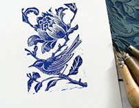 Bird Lino Cut Prints