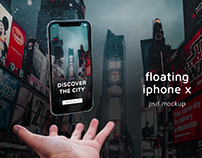 Floating iPhone X PSD Mockup
