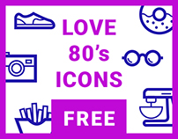 Icon set - Love 80's - free sample