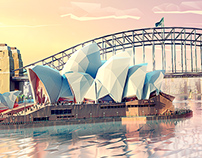 Etihad airways / LowPoly Sydney