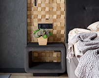 Wooden Mosaic Pixels for bedroom decoration