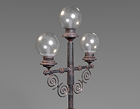 Low Poly Antique Road Lamp