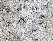Floral Silk Scarf Outline