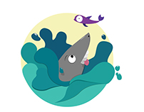 Fun illustration of a shark done with Adobe Illustrator