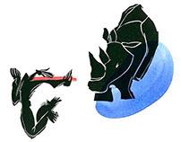 """E.Ionescu """"Rinoserous"""" (linocut+watercolor) 2011"""
