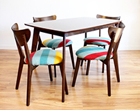 Hudson Bay Wool x Mid Century Upholstered Dining Set