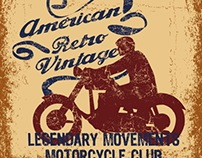 american retro motorcycle club vector art