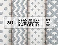 30 decorative hand drawn patterns