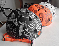 Series of painted bicycle helmets