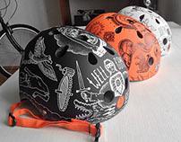 Series of painted bicycle helmets