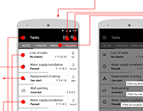Construction task management mobile UX