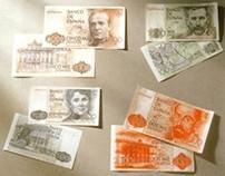 Pesetas. Spanish banknotes.