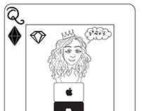 Queen of diamonds playing card in B&W