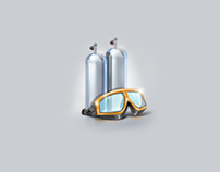 Set of realistic icons for online diving store