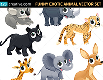 Funny exotic animal vector set - safari, zoo, Africa