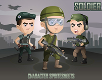 2D Game Soldiers Character Sprites Sheets