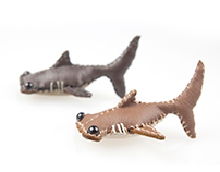 Mini leather shark brooches