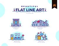 Beautiful Flat Line Art