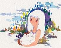 """""""Girl & Cat"""" Watercolor Postcards"""